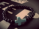 Cross beaded braclet 50p