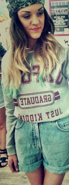 BLISS CLOTHING: Amanda Oxford Graduate Print Sweatshirt with Mustang Vintage shorts