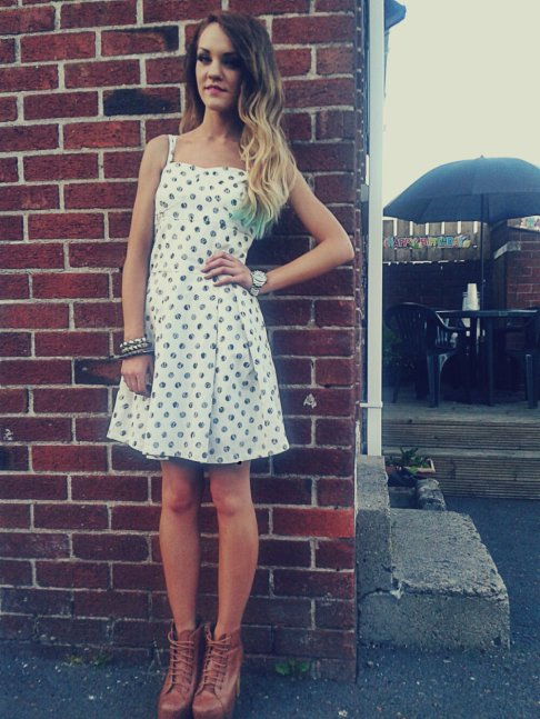 Summer Garden Party Event: Asanda Floral & Polka Dot Detailed Boobtube Skater Dress