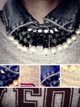 BLISS CLOTHING: Amanda Oxford Graduate Print Sweatshirt: Denim pearl look: Vintage Theme