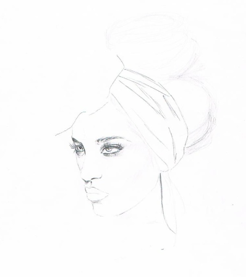 My sketch of Kelly Smith's piece: Vixen